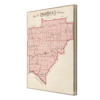 Mapa del condado de Warrick Impresión En Tela