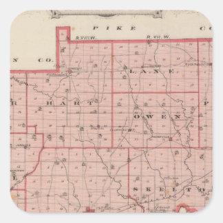 Mapa del condado de Warrick Pegatina Cuadrada