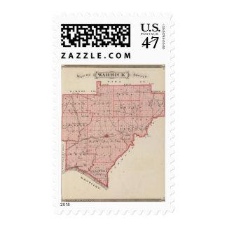 Mapa del condado de Warrick Timbre Postal