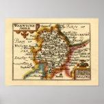 """Mapa del condado de """"Warwickeshire"""" Warwickshire Poster"""