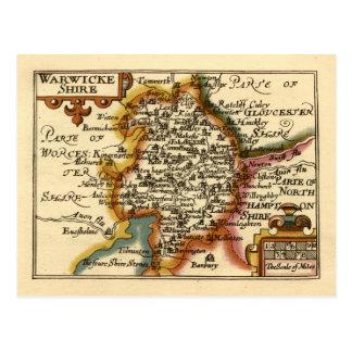 """Mapa del condado de """"Warwickeshire"""" Warwickshire Postales"""