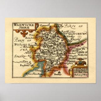 """Mapa del condado de """"Warwickeshire"""" Warwickshire Póster"""