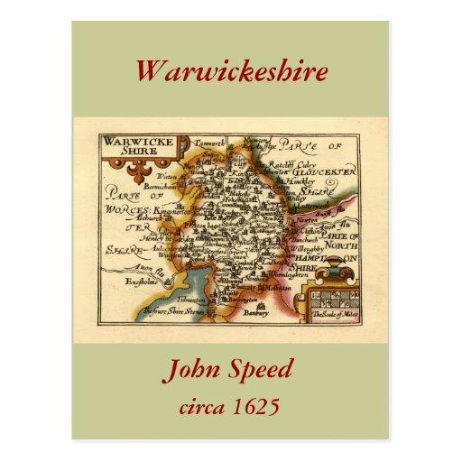 """Mapa del condado de """"Warwickeshire"""" Warwickshire Postal"""