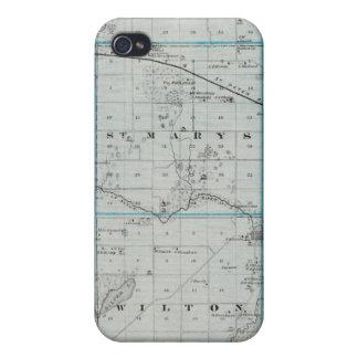 Mapa del condado de Waseca, Minnesota iPhone 4 Carcasas