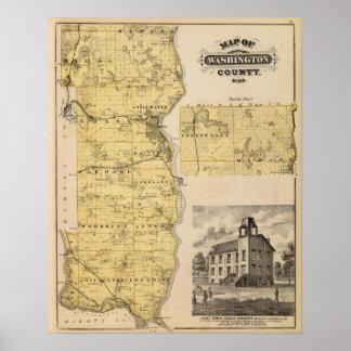 Mapa del condado de Washington, Minnesota Póster