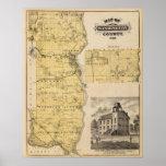 Mapa del condado de Washington, Minnesota Posters