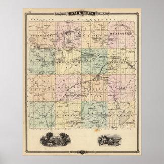 Mapa del condado de Waukesha, estado de Wisconsin Impresiones
