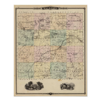 Mapa del condado de Waukesha, estado de Wisconsin Póster