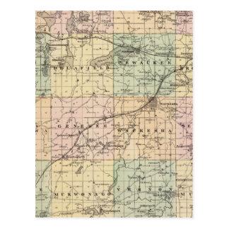 Mapa del condado de Waukesha, estado de Wisconsin Postal
