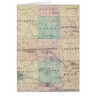 Mapa del condado de Waupaca, estado de Wisconsin Felicitacion