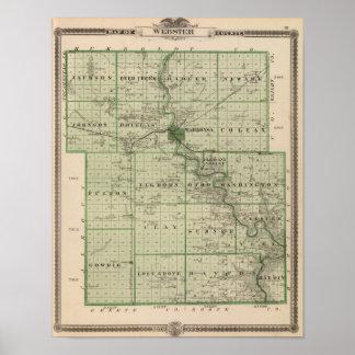 Mapa del condado de Webster, estado de Iowa Poster