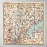 Mapa del condado de Westchester, Nueva York Poster