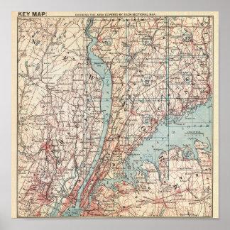 Mapa del condado de Westchester, Nueva York Póster