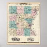 Mapa del condado de Winnebago, estado de Wisconsin Impresiones