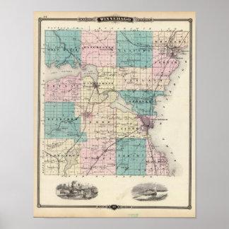 Mapa del condado de Winnebago, estado de Wisconsin Póster