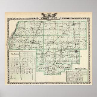 Mapa del condado de Woodford, de El Paso y de Meta Póster