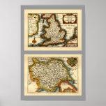 Mapa del condado de Yorkshire, Inglaterra Impresiones