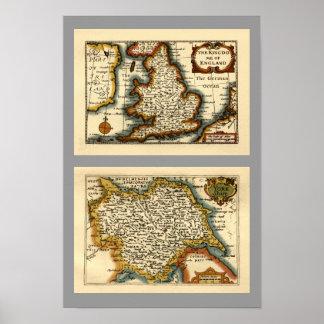 Mapa del condado de Yorkshire, Inglaterra Póster