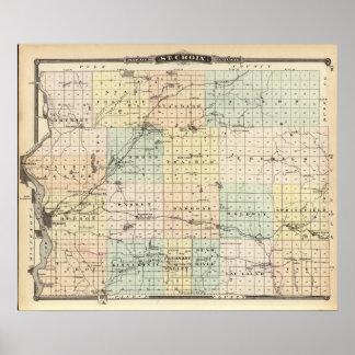 Mapa del condado del St Croix Impresiones