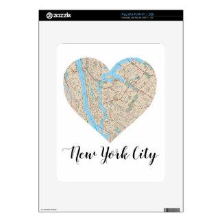 Mapa del corazón de New York City Skins Para eliPad