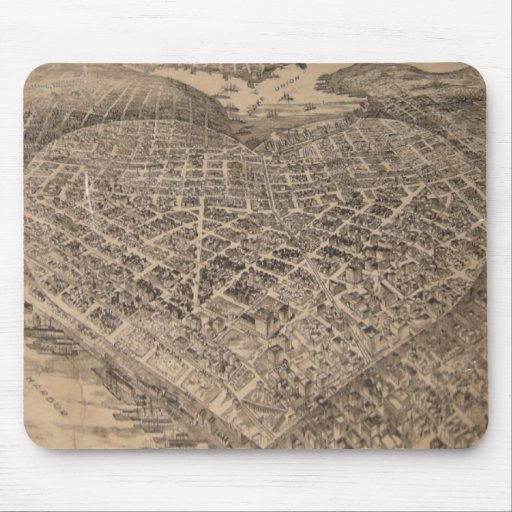 Mapa del corazón de Seattle del vintage (1905) Tapete De Raton