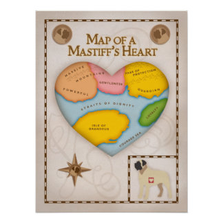 Mapa del corazón de un mastín posters