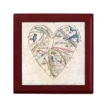 Mapa del corazón de una mujer caja de regalo