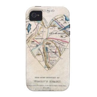 Mapa del corazón de una mujer iPhone 4/4S funda