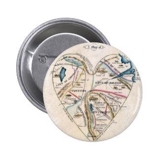 Mapa del corazón de una mujer pin redondo 5 cm