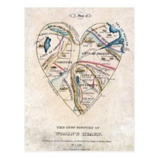 Mapa del corazón de una mujer postales
