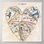 Mapa del corazón de una mujer posters