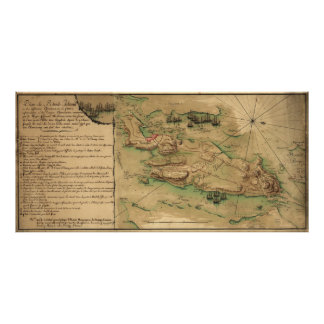 Mapa del de Rhode Island del plan (1778) Póster