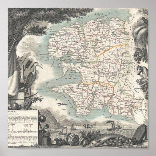 Mapa del departamento francés de Finistere Poster