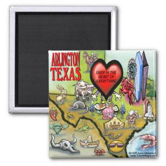 Mapa del dibujo animado de Arlington Tejas Imán Cuadrado