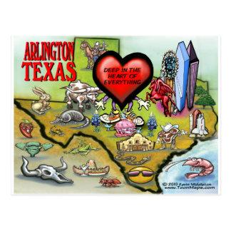 Mapa del dibujo animado de Arlington Tejas Tarjetas Postales