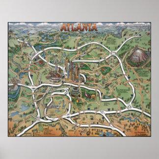 Mapa del dibujo animado de Atlanta Georgia Posters