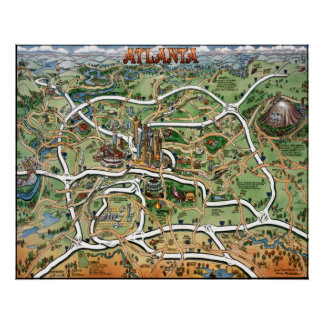 Mapa del dibujo animado de Atlanta Georgia Poster