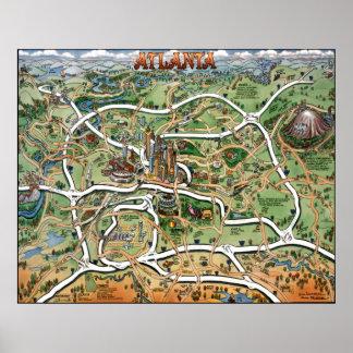 Mapa del dibujo animado de Atlanta Georgia Póster