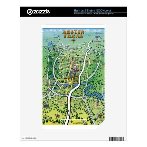 Mapa del dibujo animado de Austin Tejas Calcomanías Para El NOOK Color