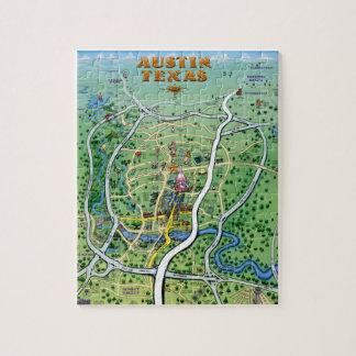 Mapa del dibujo animado de Austin Tejas Rompecabezas