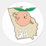 Mapa del dibujo animado de Georgia GA con el Pegatina Redonda