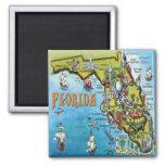 Mapa del dibujo animado de la Florida Iman Para Frigorífico