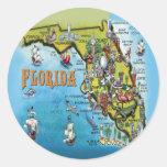 Mapa del dibujo animado de la Florida Etiquetas Redondas