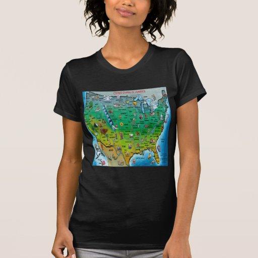 Mapa del dibujo animado de los E.E.U.U. Camiseta