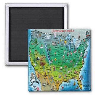 Mapa del dibujo animado de los E.E.U.U. Imán Cuadrado