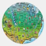 Mapa del dibujo animado de los E.E.U.U. Pegatina