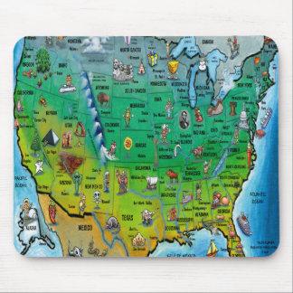 Mapa del dibujo animado de los E E U U Tapetes De Ratones
