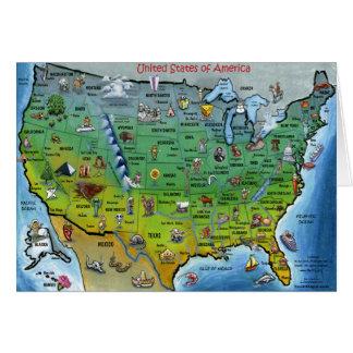 Mapa del dibujo animado de los E.E.U.U. Tarjeta De Felicitación