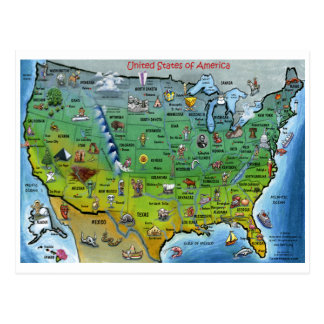 Mapa del dibujo animado de los E.E.U.U. Tarjeta Postal