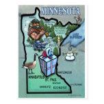 Mapa del dibujo animado de Minnesota Postales